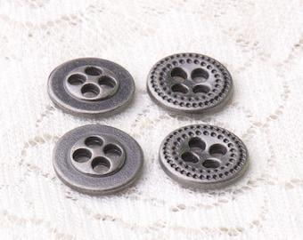 metal buttons 10pcs 11mm 4 hole buttons zinc alloy light black buttons vintage buttons for coat shirt sweater cardigan