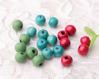 wood beads 20pcs round wooden beads 8mm small beads macrame beads green blue red color