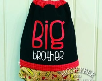 Boys back pack, Big Brother tote, drawstring bag for kids