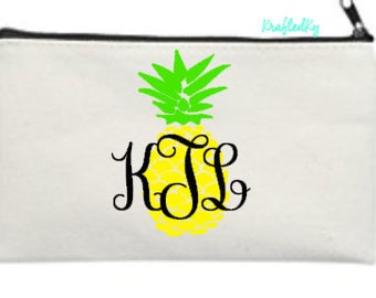 Pineapple Monogram Cosmetic Bag