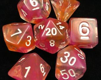 16mm Dungeons and Dragons Dice Set, DnD Polyhedral Set, Nebula: Pink/Orange