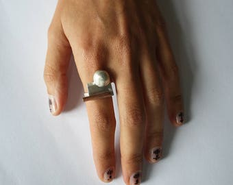 Embo ring, silver and brass, one of a kind, handmade