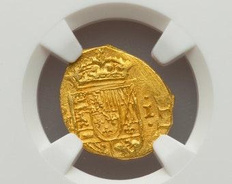 MEXICO 1 ESCUDOS 1712 NGC 63 1715 fleet shipwreck treasure gold pirate doubloon