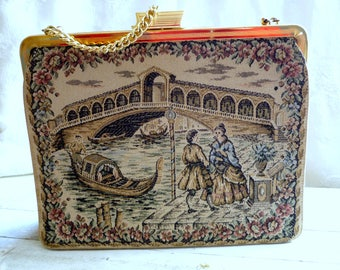 Vintage purse, handbag vintage 60's, the marquise, tapestry tapistry