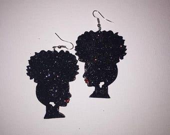 Black Glitter Afro Girl