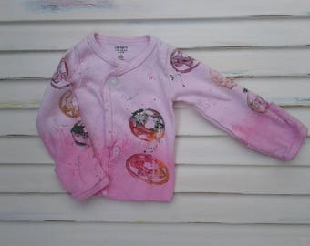 Girl New Born Shirt, pink, dipped dyed, doughnut, paint, stamped