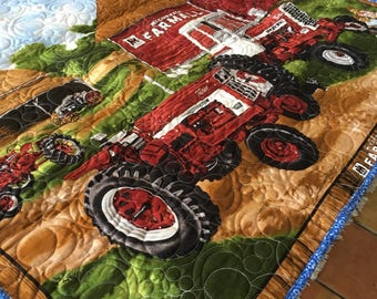 Farmall 1206 Turbo tractor baby quilt.