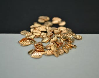 Small Glossy Gold Plated Leaves - Tiny Gold Plated Leaf Charms - Charms for Jewellery - Jewellery Making Supplies