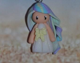 Handmade baby dress white polymer clay, yellow bow, hair in yellow, blue, purple - Collection Rainbow - Rainbow