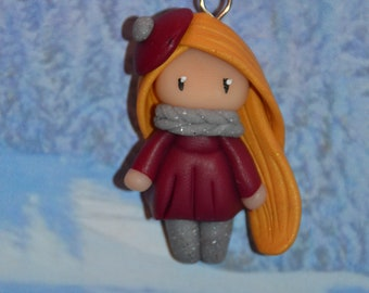 Handmade baby dress Burgundy, golden hair - winter Collection - jewelry polymer clay