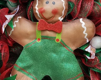 Gingerbread man, Christmas wreath, Front door wreath, Decor, Holiday wreath, Porch wreath,