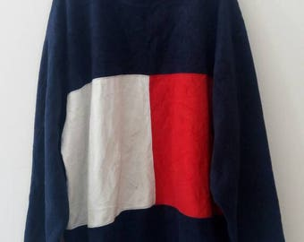 RARE!!!! Vintage Tommy hilfiger sweatshirt big logo retro old school tommy hilfiger jacket windbreaker