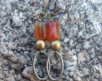 Red Agate and Oval Earrings
