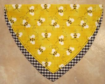 Yellow Bumble Bee OVER THE COLLAR Dog Bandana