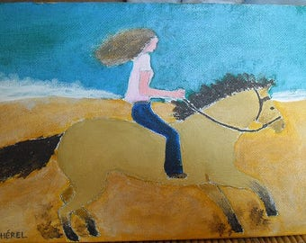 Small painting the horsewoman