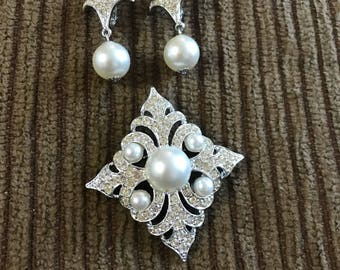 Art Deco Silver and Pearl Broach and Earrings Set