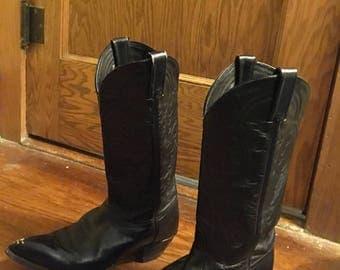Vintage Black Tony Lama Cowboy Boots