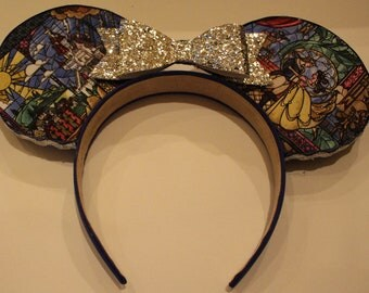 Beauty and the Beast Stained Glass Minnie Mouse Ears
