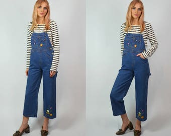 Vintage 90s Petite Indigo Blue Denim Cropped Flare Embroidered Dungarees