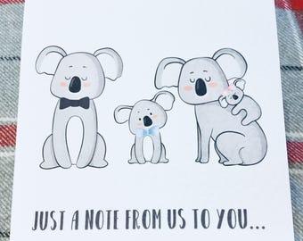 Personalised Koala bear greetings card