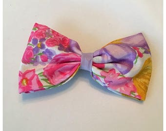 Pastel Floral Hairbow, Spring, Pink and Purple Floral Hairbow, Hairbow, Pink Floral Hairbow, Purple Floral Hairbow, Bows, Bowtie, SozBows