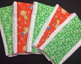 Set of 5 Jungle Burp Cloths