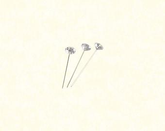 "144pcs - 1 1/2"" Clear Diamond Boutonniere Pins"