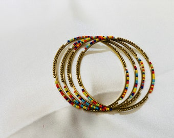 Dull gold multi-color bead bangles | size 2-6"