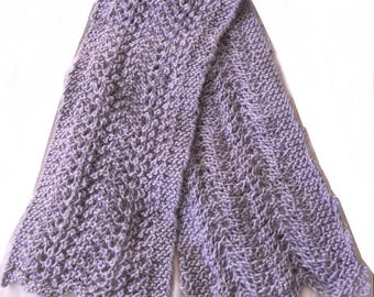 Hand knitted scarf in alpaca/silk mix