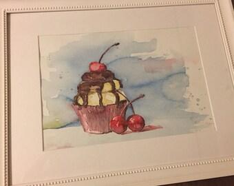 """Watercolor """"Cupcake"""""""