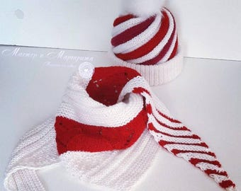 """Knitted set """"Lollipop"""" (Cap and scarf)"""