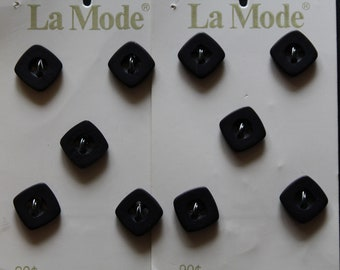 Vintage Square Black Buttons / La Mode / 10 on original cards