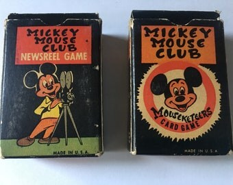 Playing Cards Mickey Mouse Club Newsreel Mousekeeter Game Russell Mfg Co Disney Volume 2 and 3 Vintage