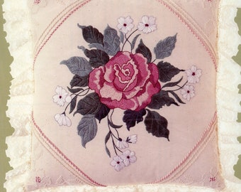 Candamar Designs Something Special Candlewicking Embroidery Rose Pillow