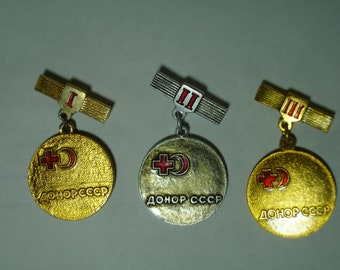 "Set 3 Badges ""Donor of the USSR"", The ""Donor of the USSR I-III degree"" ,Vintage Soviet Union Russian medal"