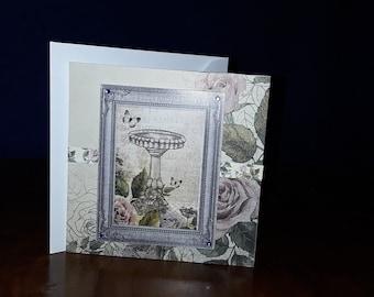 Butterfly, bird bath , greeting card
