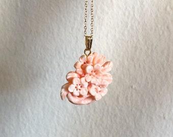 Vintage Hand Carved Coral Necklace 2