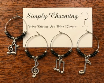 Musical  Notes Wine Charms