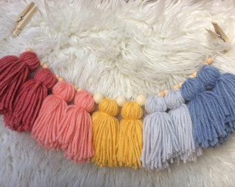 """14"""" Tassel Garland with natural wood beads"""