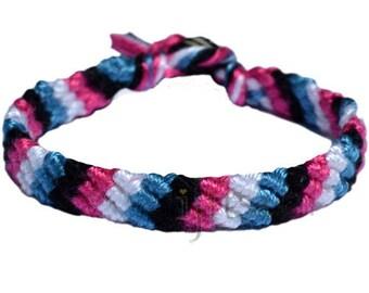 Light blue, black, deep pink and snow white bamboo diagonal bracelet or anklet