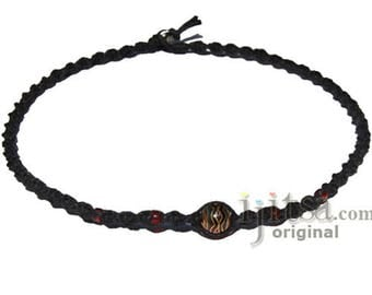 Black twisted  hemp necklace with round red glass bead