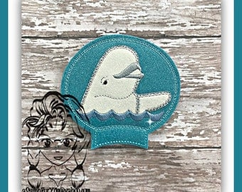 WHALE Beluga Ear (Add On ~ 1 Pc) Mr Ms Mouse Ears Headband ~ In the Hoop ~ Downloadable DiGiTaL Machine Embroidery Design by Carrie
