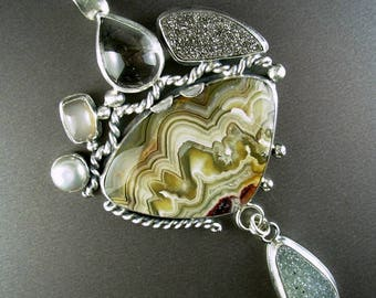 Chelle' Rawlsky STONE SOUP COLLECTION very large sterling silver pendant mexican crazy lace agate pearl moonstone tourmaline quartz druzy