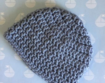 Blue  baby hat, Any Size 0-18 month, Stonewash Blue Hat, Baby  Beanie,  Baby Shower Gift,   baby gift , Crochet  baby beanie, infant hat,