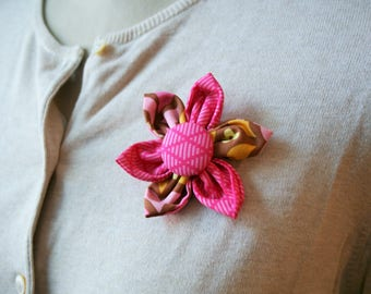 Pink Fabric Flower Brooch, Flower Pin - Handmade Fabric Flower