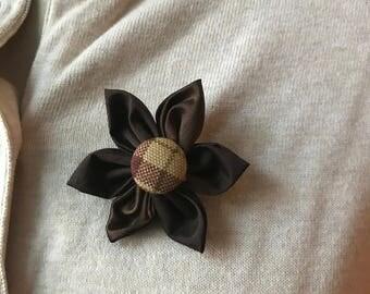 Brown Silk Fabric Flower Brooch, Flower Pin - Handmade Fabric Flower