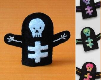 Skeleton Finger Puppet - Select a Color - Felt Skeleton Puppet - Halloween Finger Puppet - Felt Finger Puppet Skeleton - Halloween Puppet