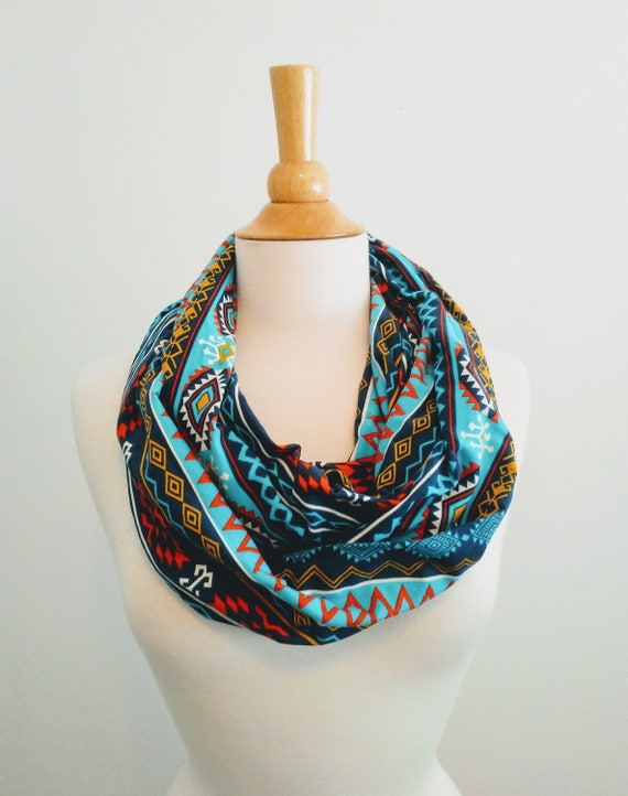 Infinity scarf Navy aqua tribal print infinity scarf blue cotton scarf geometric shapes cotton jersey gift for her mothers day spring scarf