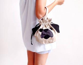 Pug Drawstring Bag, Pug Purse, Pug Gift, Pug Pouch, Drawstring Bag Women, Drawstring Bag Kids, Drawstring Purse, Dog Purse, Twinning Bags