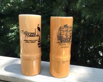 Hawaiian Souvenir Ceramic Tiki Tumblers Bamboo Set of Two